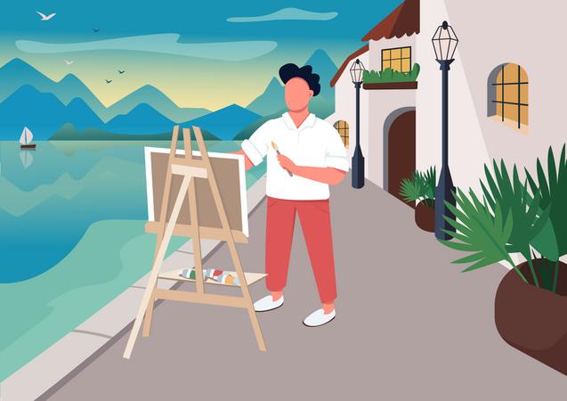 Artist painting at seaside Illustration