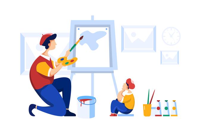Artist teaching painting to student Illustration