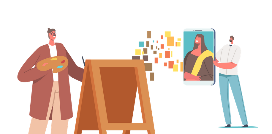 Artist Transferring Masterpieces into Digital NFT Cryptocurrency Illustration