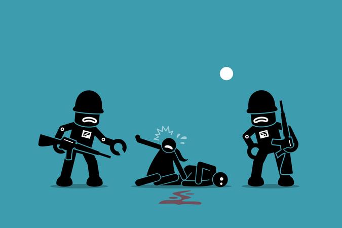 Artwork illustrations depict war between robot and human, uprising, revolution, and evolution of AI Illustration