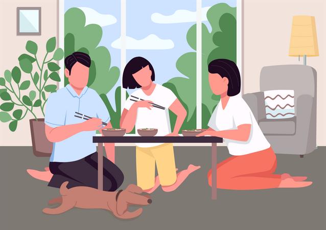 Asian family dinner Illustration
