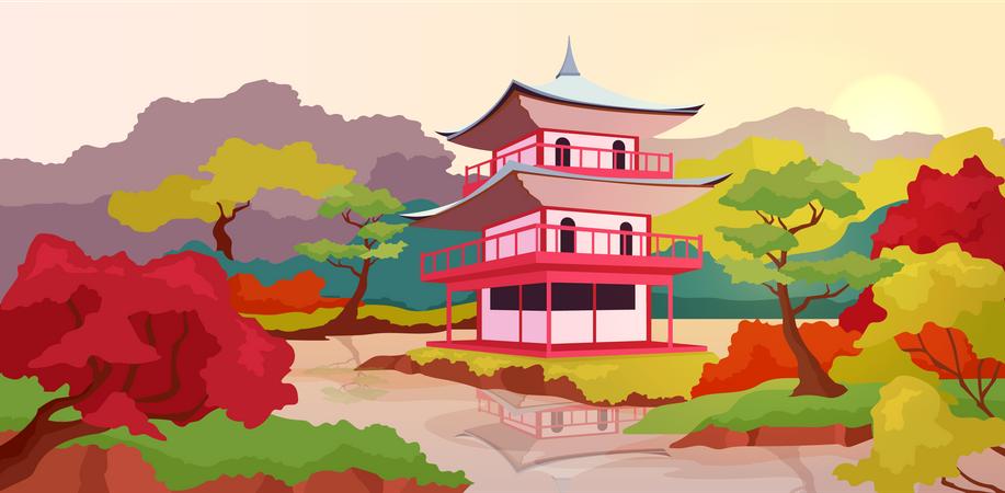 Asian pagoda Illustration