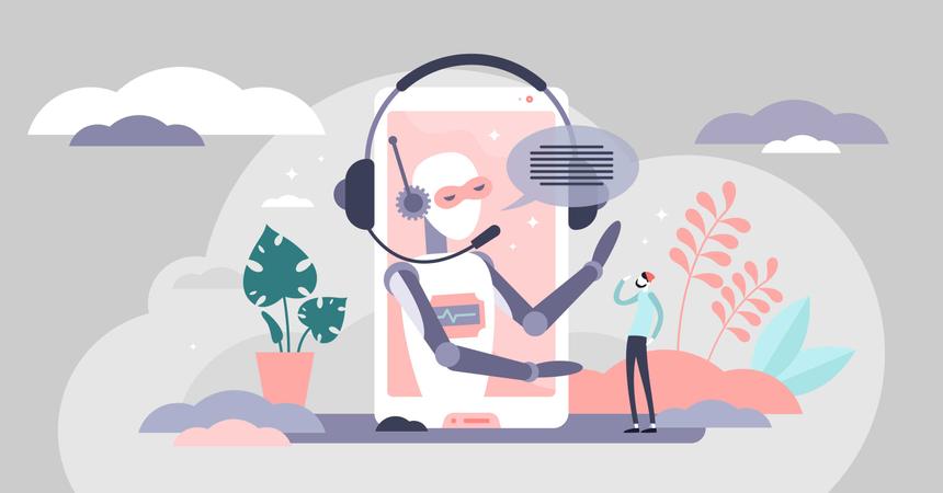Assistant business robot automation Illustration