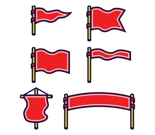 Assorted Blank Flag Bold Outline Set Illustration