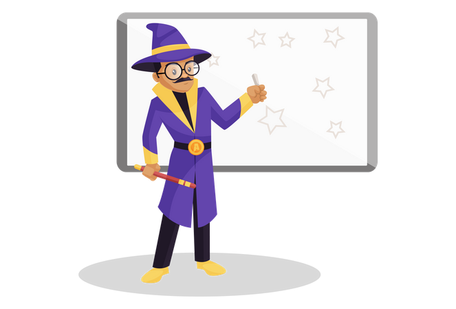 Astrologer drawing stars on a whiteboard Illustration