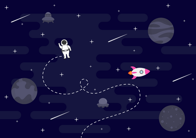 Astronaut doing spacewalk Illustration