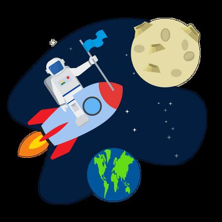 Astronaut flying on rocket Illustration