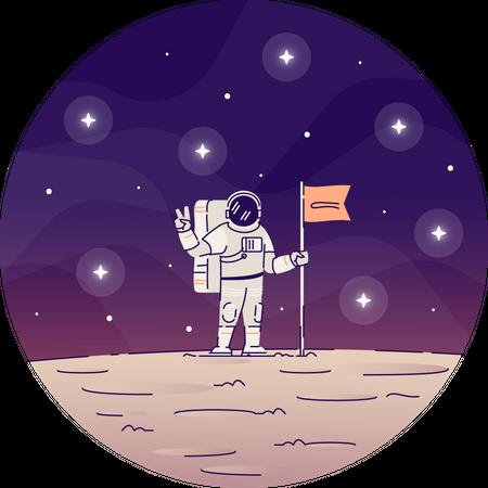 Astronaut planting flag on moon Illustration