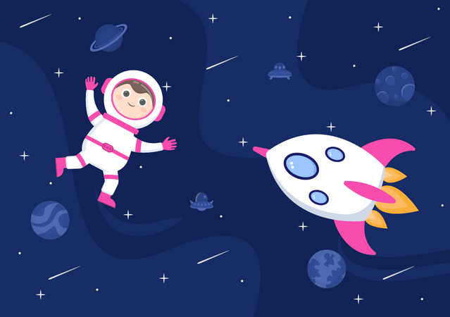 Astronaut roaming in space Illustration