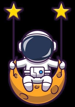 Astronaut sitting on moon swing Illustration