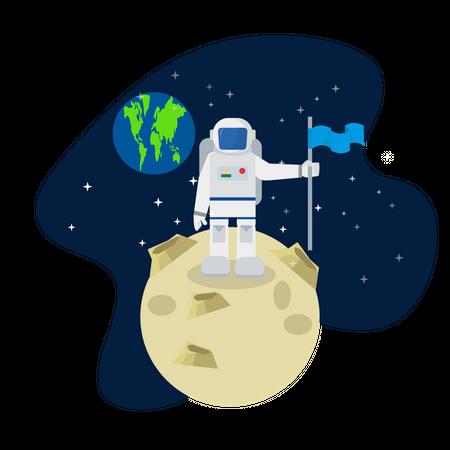 Astronaut standing on the moon Illustration