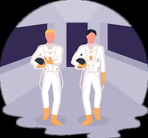 Astronauts heading to spaceship Illustration