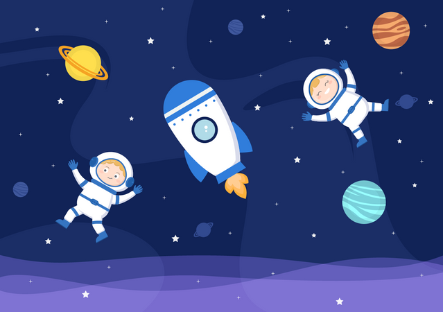 Astronauts In space Illustration
