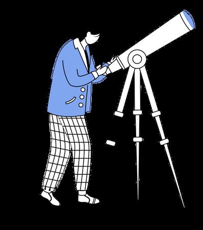 Astronomer with telescope Illustration