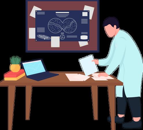 Astronomer working Illustration