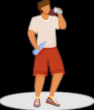 Athlete drinks water Illustration