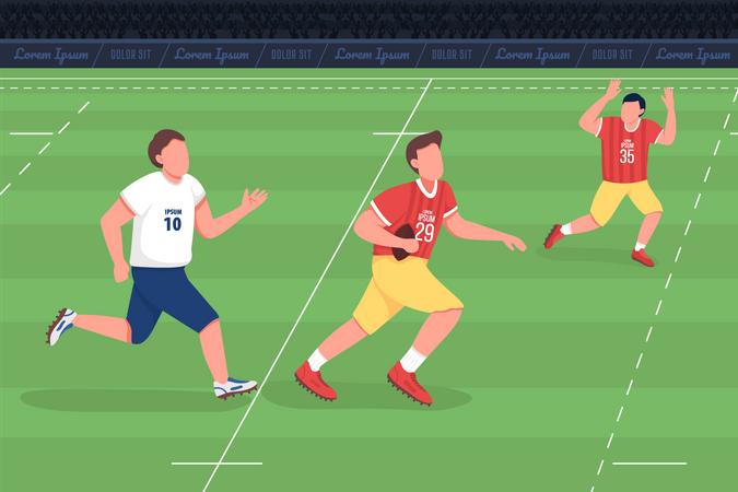 Athlete play American football Illustration