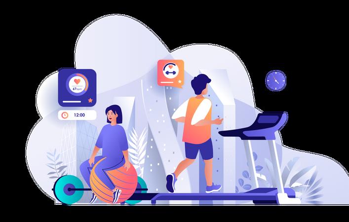 Athletes at fitness gym Illustration