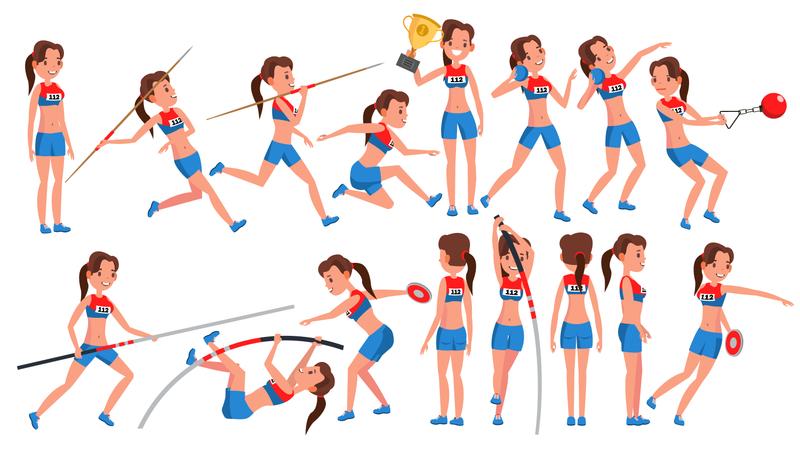 Athletics Girl Player Illustration
