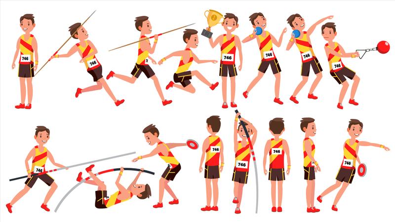 Athletics Male Player Vector Illustration