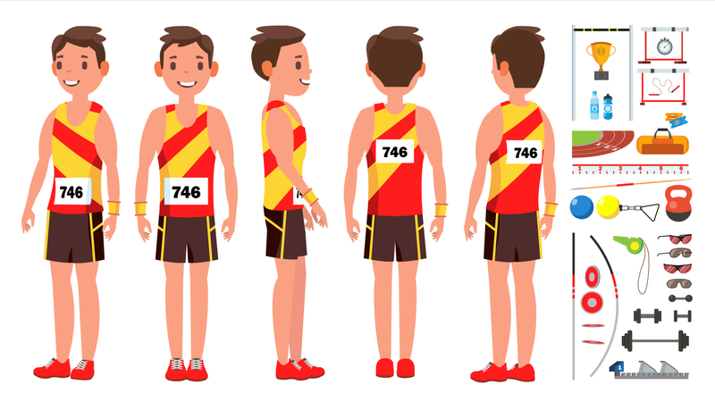 Athletics Man Player Illustration