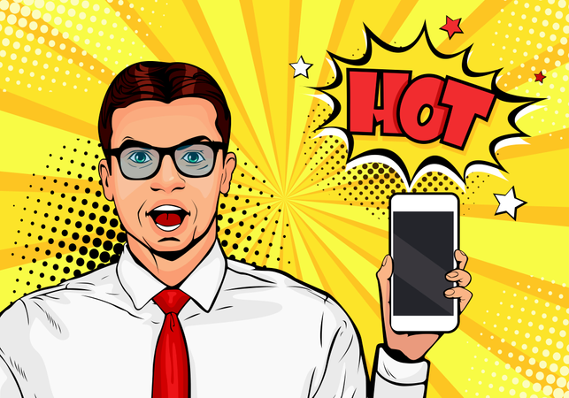 Attractive smiling man with phone in the hand in comic style. Pop art vector illustration in retro comic style. Digital advertisement male model showing the message or new app on cellphone Illustration