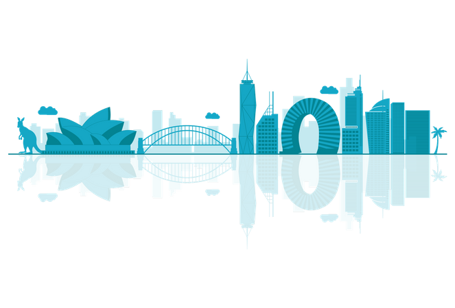 Australia Skyline silhouette with reflections Illustration