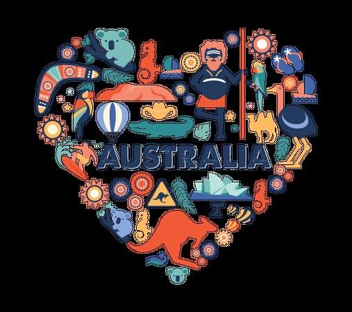 Australian culture pattern in heart shape Illustration