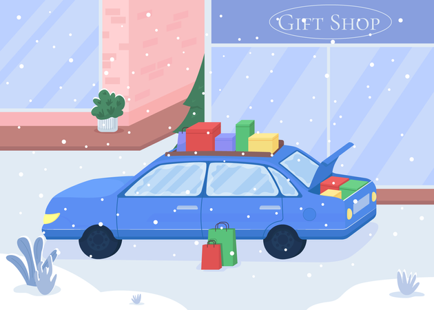 Auto with purchased gifts Illustration