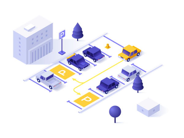 Automatic parking assistant technology Illustration