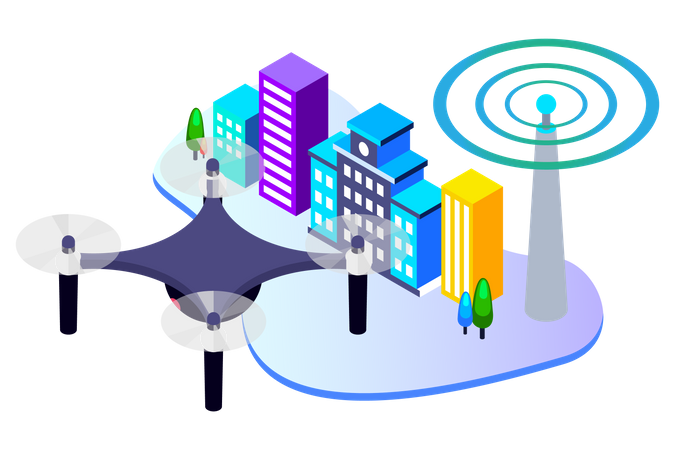 Automatic Wireless Drone Illustration