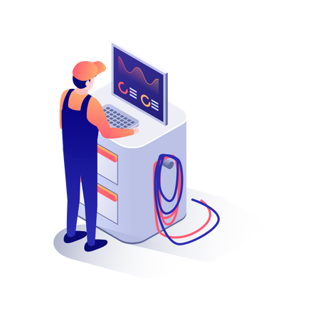 Automation in garage Illustration