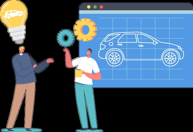 Automobile Prototyping Process Illustration