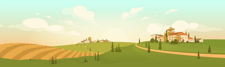 Autumn In Hilltop Village Illustration