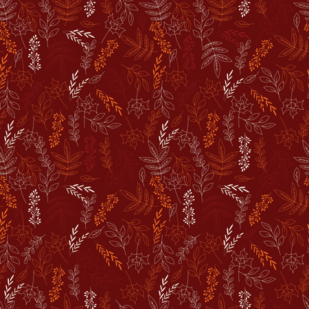 Autumn seamless pattern with floral decorative elements, colorful design Illustration