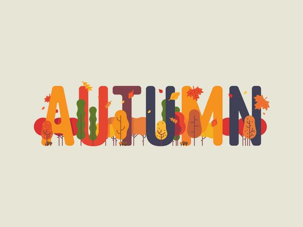 Autumn themed text art decorated Illustration