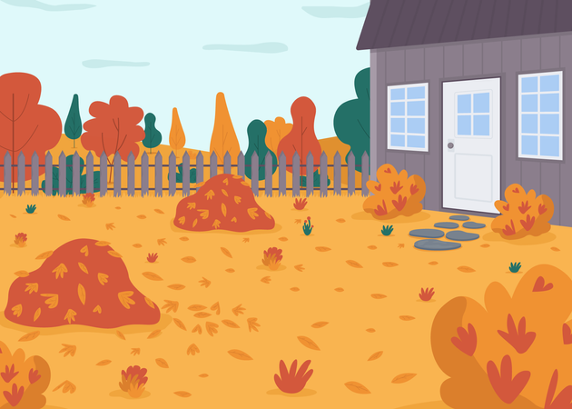 Autumnal backyard Illustration