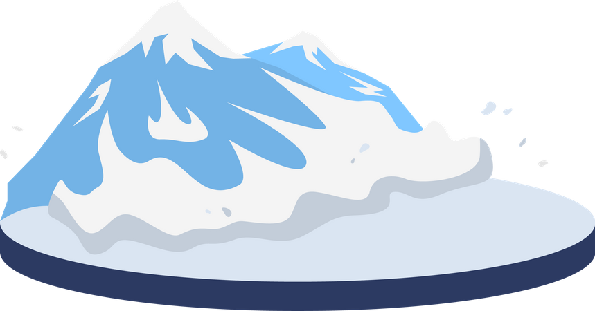 Avalanche in rural area Illustration