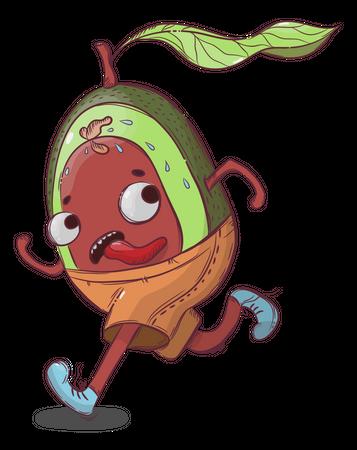Avocado In Hurry Illustration
