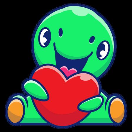 Baby dinosaurs holding heart Illustration
