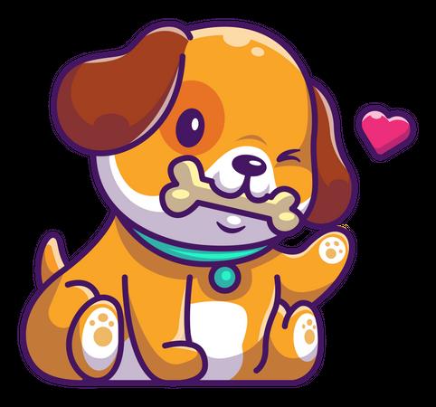 Baby dog holding bone in mouth Illustration