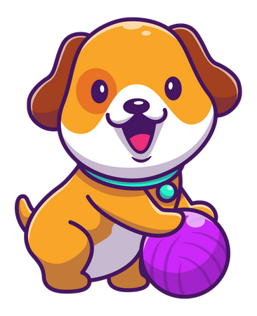 Baby dog playing with ball Illustration