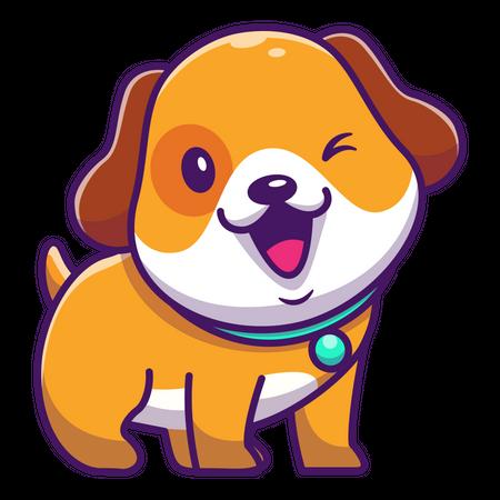 Baby dog winking Illustration