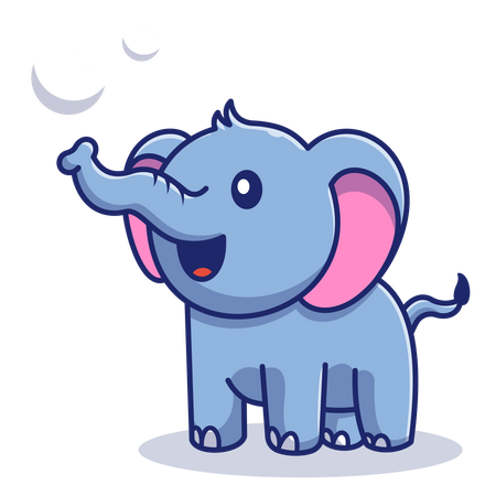 Baby elephant playing water Illustration