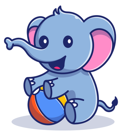 Baby elephant playing with ball Illustration