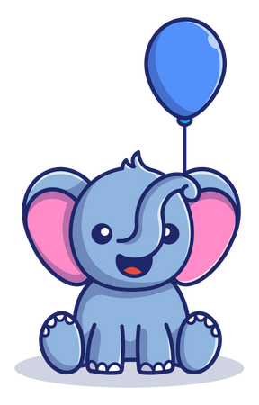 Baby elephant playing with balloon Illustration
