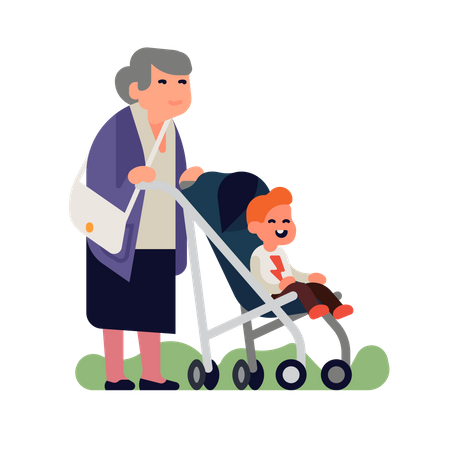 Baby grand kid with grandma are out for a walk Illustration