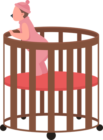 Baby in cradle Illustration