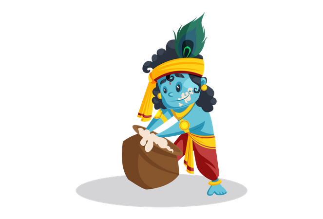 Baby Lord Krishna Eating Butter From Pot Illustration
