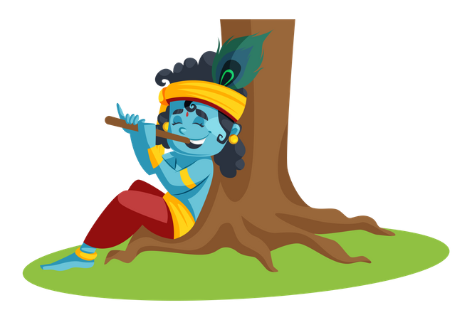 Baby Lord Krishna Playing with Flute Illustration